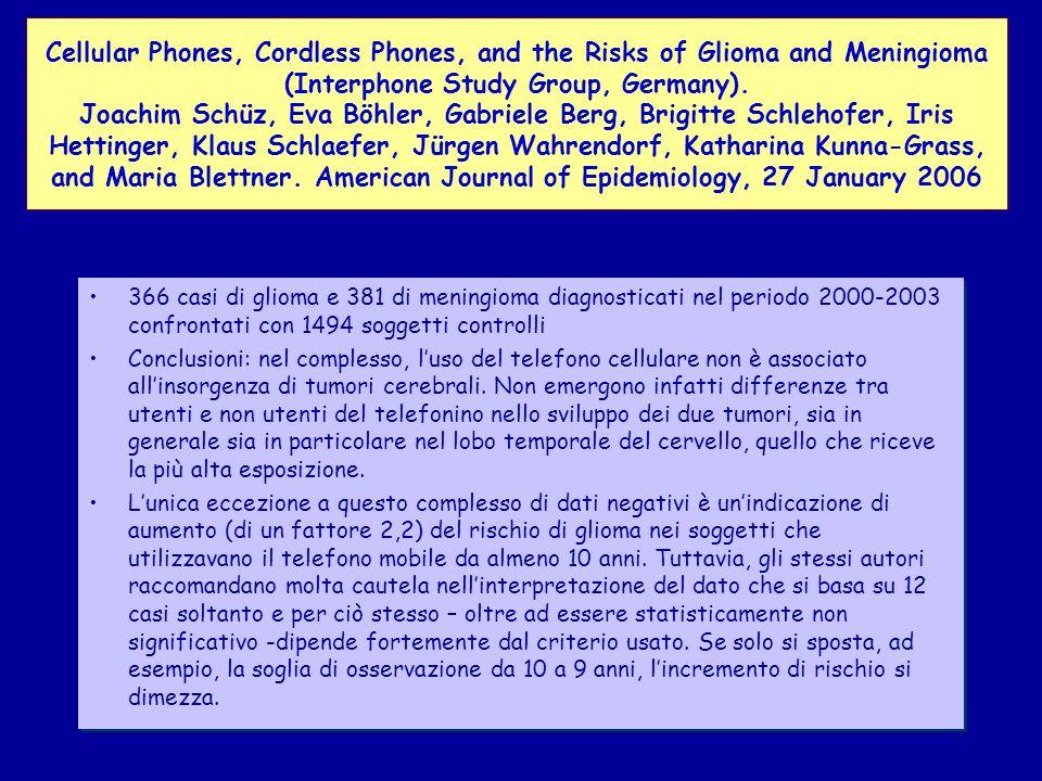 366 casi di glioma e 381 di meningioma diagnosticati nel periodo 2000-2003 confrontati con 1494 soggetti controlli Conclusioni: nel complesso, luso del telefono cellulare non è associato allinsorgenza di tumori cerebrali.