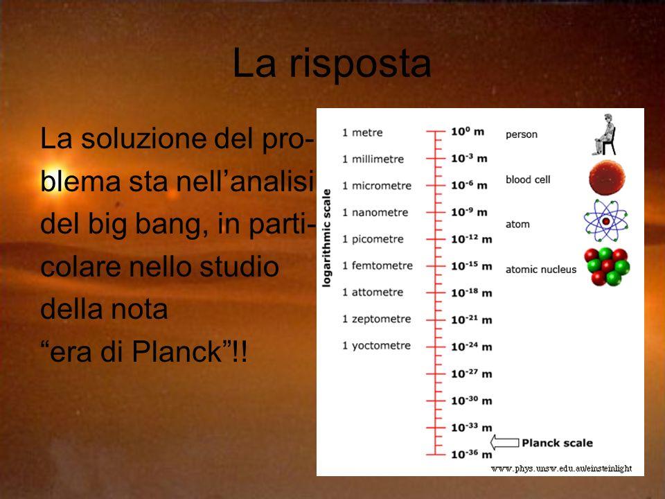La risposta La soluzione del pro- blema sta nellanalisi del big bang, in parti- colare nello studio della nota era di Planck!!