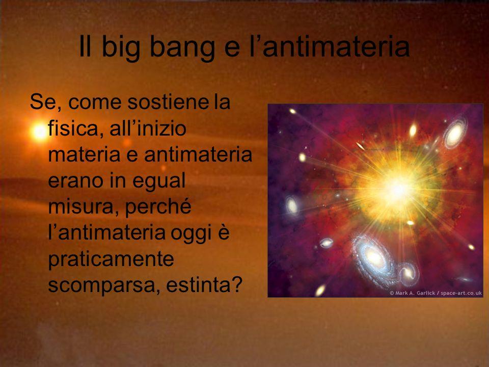 Il big bang e lantimateria Se, come sostiene la fisica, allinizio materia e antimateria erano in egual misura, perché lantimateria oggi è praticamente scomparsa, estinta