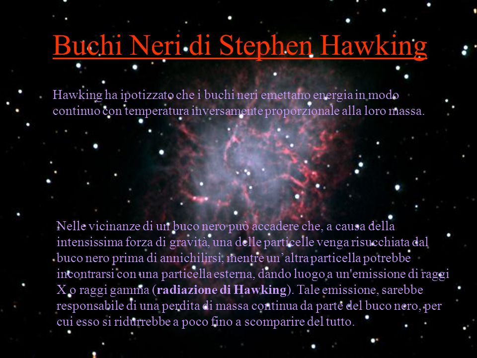 Buchi Neri di Stephen Hawking ha ipotizzato che i buchi neri emettano energia in modo continuo con temperatura inversamente proporzionale alla loro ma