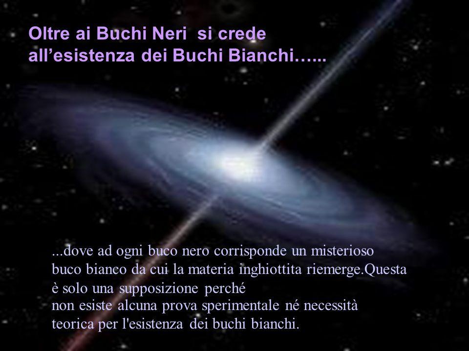 Oltre ai Buchi Neri si crede allesistenza dei Buchi Bianchi…......dove ad ogni buco nero corrisponde un misterioso buco bianco da cui la materia inghi