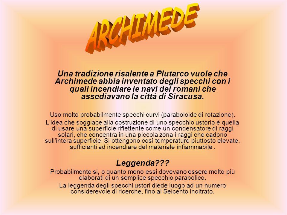 Una tradizione risalente a Plutarco vuole che Archimede abbia inventato degli specchi con i quali incendiare le navi dei romani che assediavano la cit