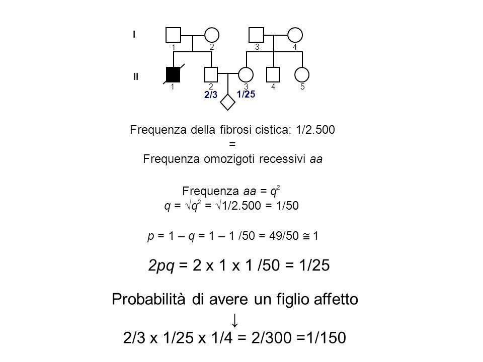 I II 1 2 1 3 4 2345 Frequenza della fibrosi cistica: 1/2.500 = Frequenza omozigoti recessivi aa 2/3 ? Frequenza aa = q 2 q = q 2 = 1/2.500 = 1/50 p =