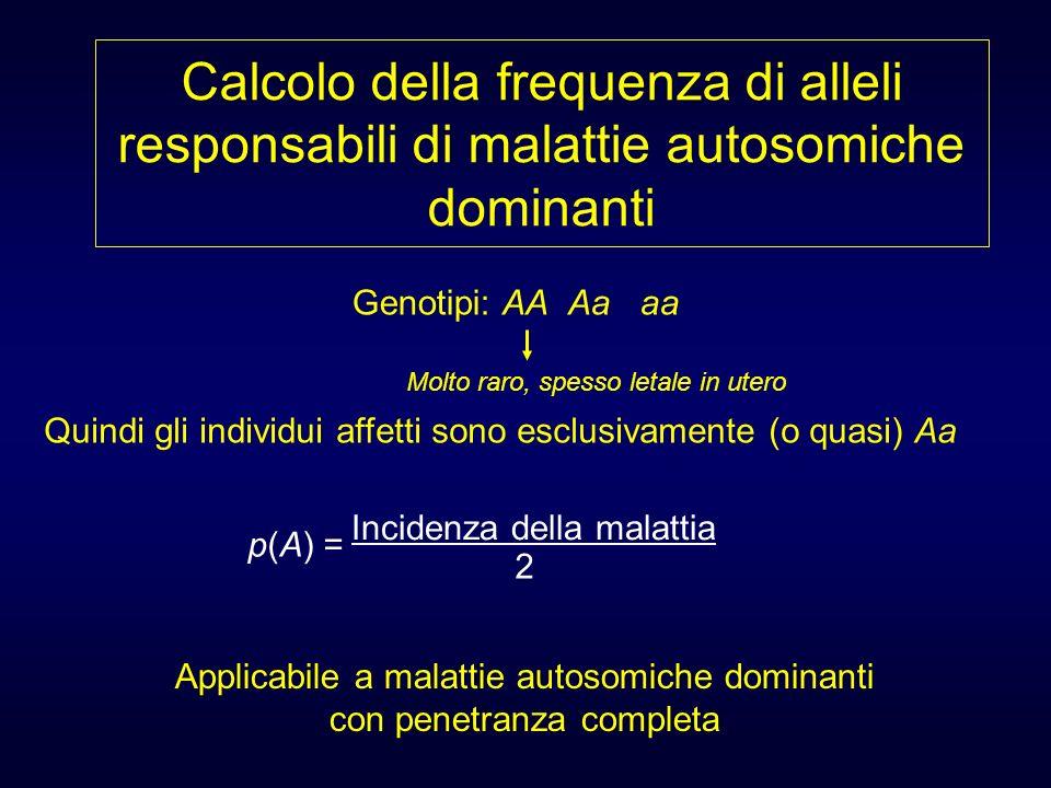 Calcolo della frequenza di alleli responsabili di malattie autosomiche dominanti Applicabile a malattie autosomiche dominanti con penetranza completa