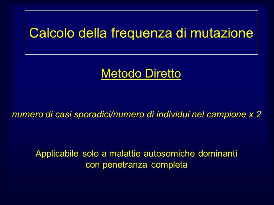 Calcolo della frequenza di mutazione Metodo Diretto Applicabile solo a malattie autosomiche dominanti con penetranza completa numero di casi sporadici