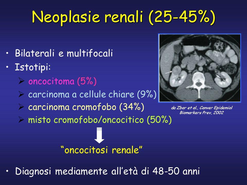Neoplasie renali (25-45%) Bilaterali e multifocali Istotipi: oncocitoma (5%) carcinoma a cellule chiare (9%) carcinoma cromofobo (34%) misto cromofobo