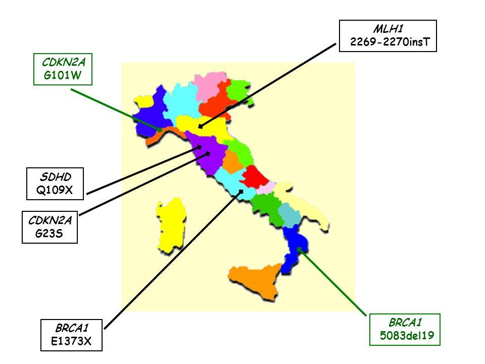 BRCA1 E1373X SDHD Q109X CDKN2A G23S MLH1 2269-2270insT CDKN2A G101W BRCA1 5083del19