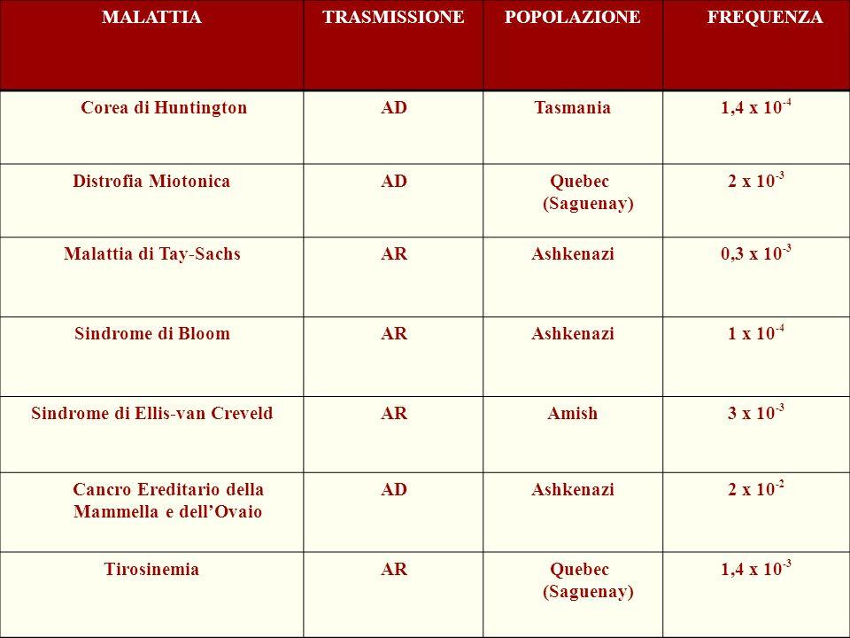 MALATTIATRASMISSIONEPOPOLAZIONE FREQUENZA Corea di HuntingtonADTasmania1,4 x 10 -4 Distrofia MiotonicaAD Quebec (Saguenay) 2 x 10 -3 Malattia di Tay-S