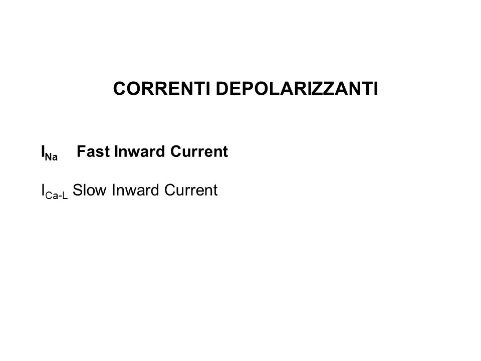 CORRENTI DEPOLARIZZANTI I Na Fast Inward Current I Ca-L Slow Inward Current