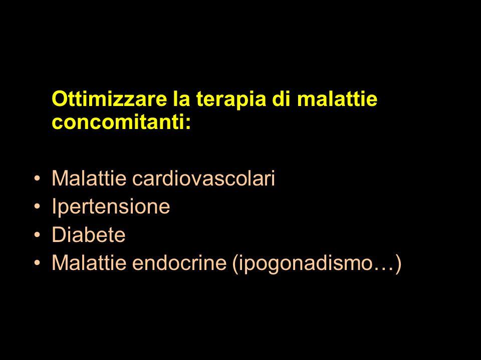 Ottimizzare la terapia di malattie concomitanti: Malattie cardiovascolari Ipertensione Diabete Malattie endocrine (ipogonadismo…) Terapia della disfun