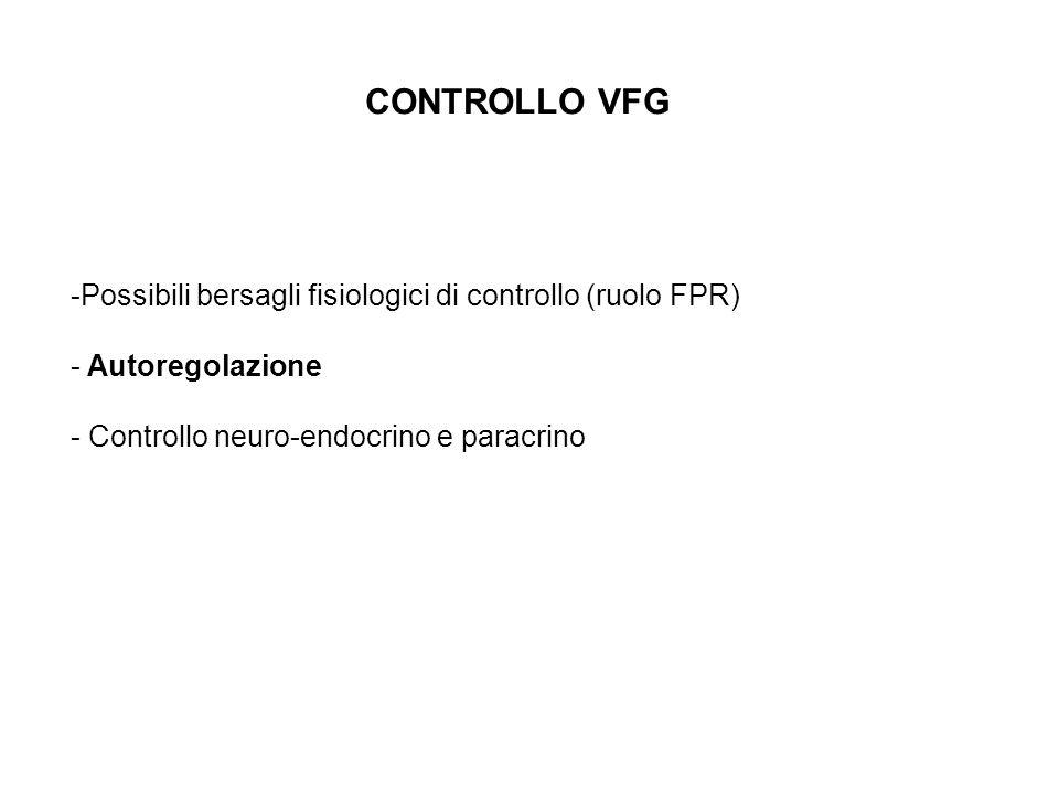 CONTROLLO VFG -Possibili bersagli fisiologici di controllo (ruolo FPR) - Autoregolazione - Controllo neuro-endocrino e paracrino