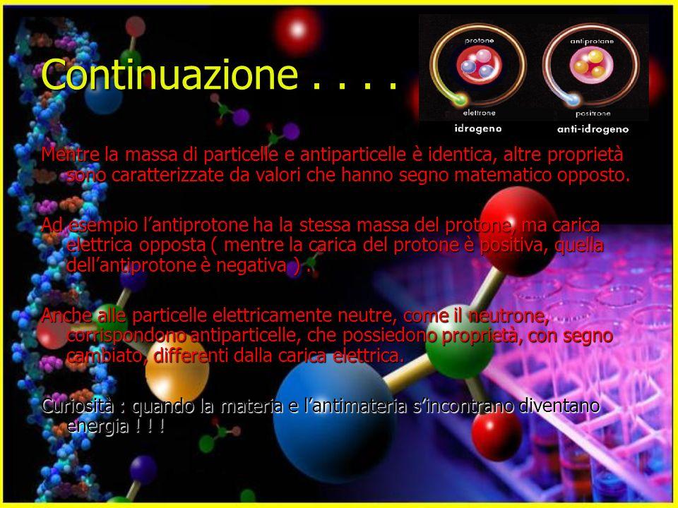 Continuazione.... Mentre la massa di particelle e antiparticelle è identica, altre proprietà sono caratterizzate da valori che hanno segno matematico