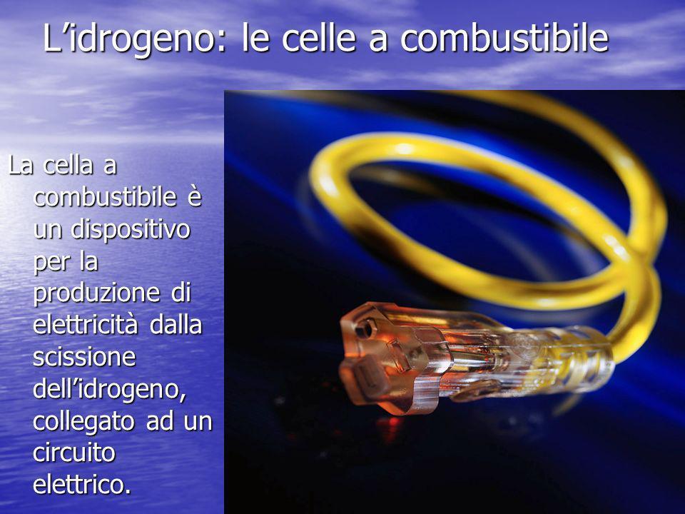 Lidrogeno: le celle a combustibile La cella a combustibile è un dispositivo per la produzione di elettricità dalla scissione dellidrogeno, collegato a