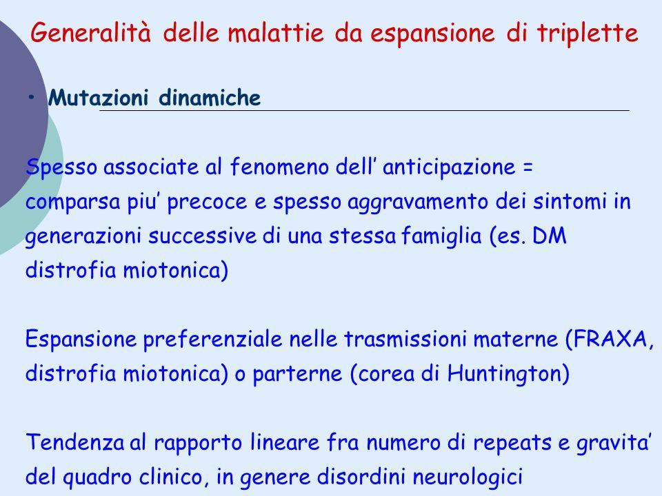 Generalità delle malattie da espansione di triplette Mutazioni dinamiche Spesso associate al fenomeno dell anticipazione = comparsa piu precoce e spes