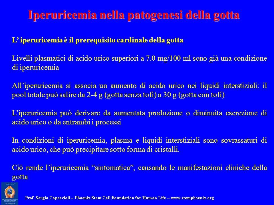 L iperuricemia è il prerequisito cardinale della gotta Livelli plasmatici di acido urico superiori a 7.0 mg/100 ml sono già una condizione di iperuric