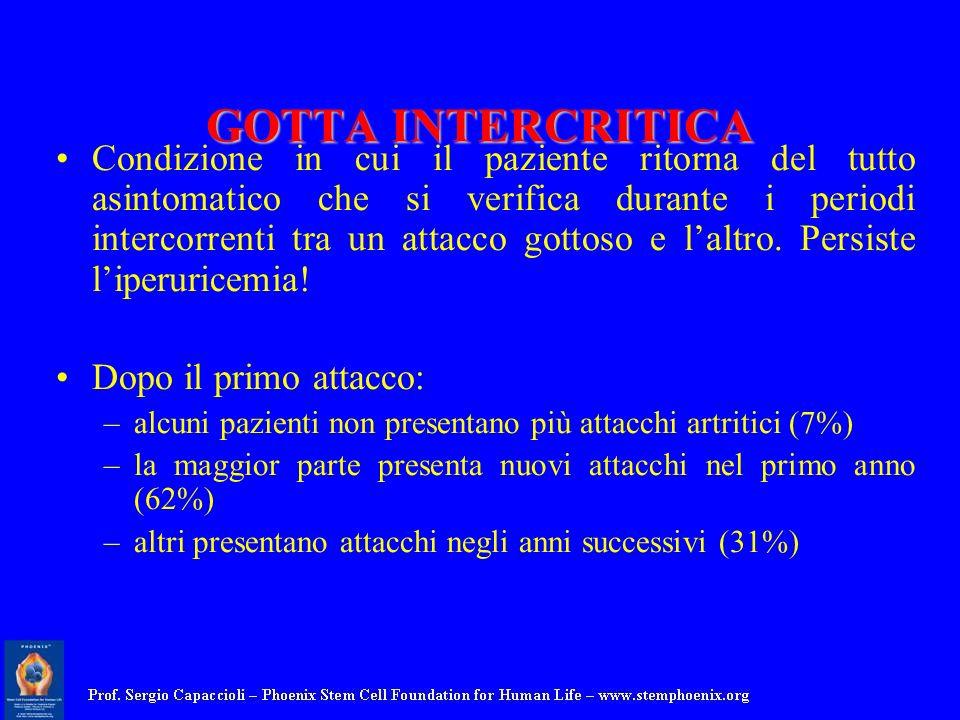GOTTA INTERCRITICA Condizione in cui il paziente ritorna del tutto asintomatico che si verifica durante i periodi intercorrenti tra un attacco gottoso