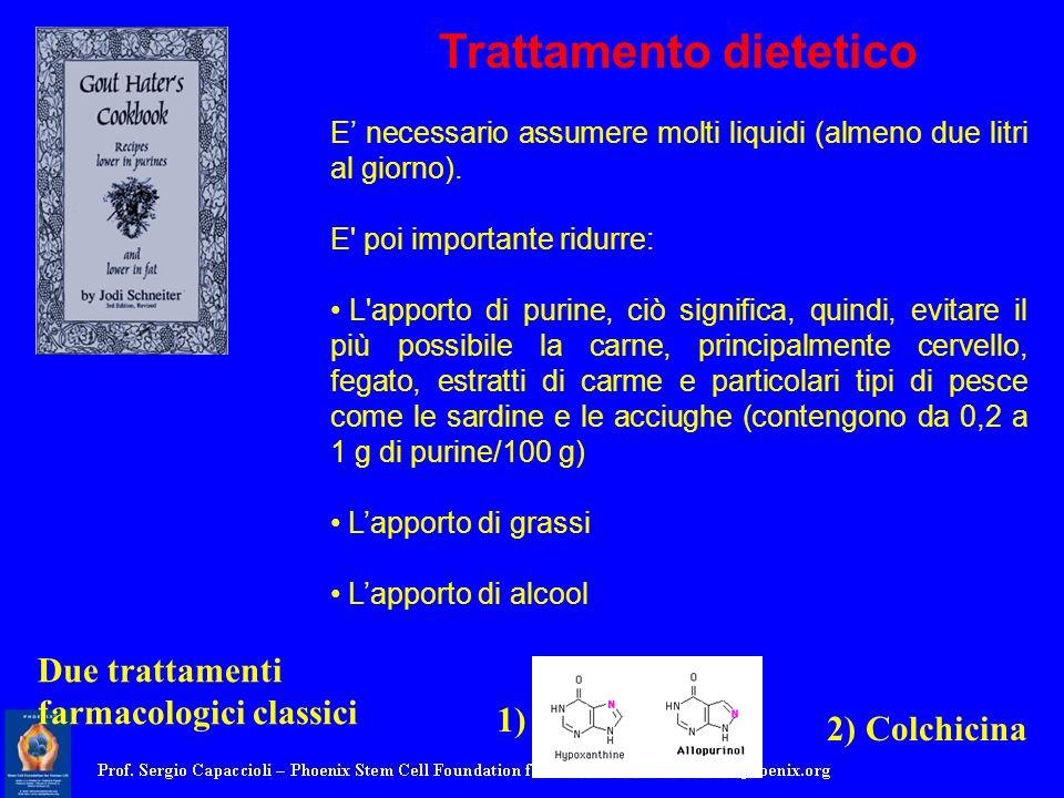 Trattamento dietetico E necessario assumere molti liquidi (almeno due litri al giorno). E' poi importante ridurre: L'apporto di purine, ciò significa,