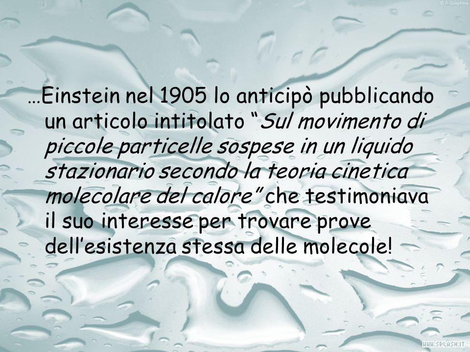 …Einstein nel 1905 lo anticipò pubblicando un articolo intitolato Sul movimento di piccole particelle sospese in un liquido stazionario secondo la teo