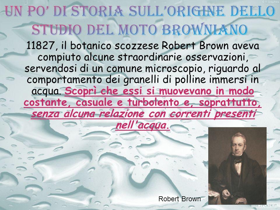 11827, il botanico scozzese Robert Brown aveva compiuto alcune straordinarie osservazioni, servendosi di un comune microscopio, riguardo al comportame