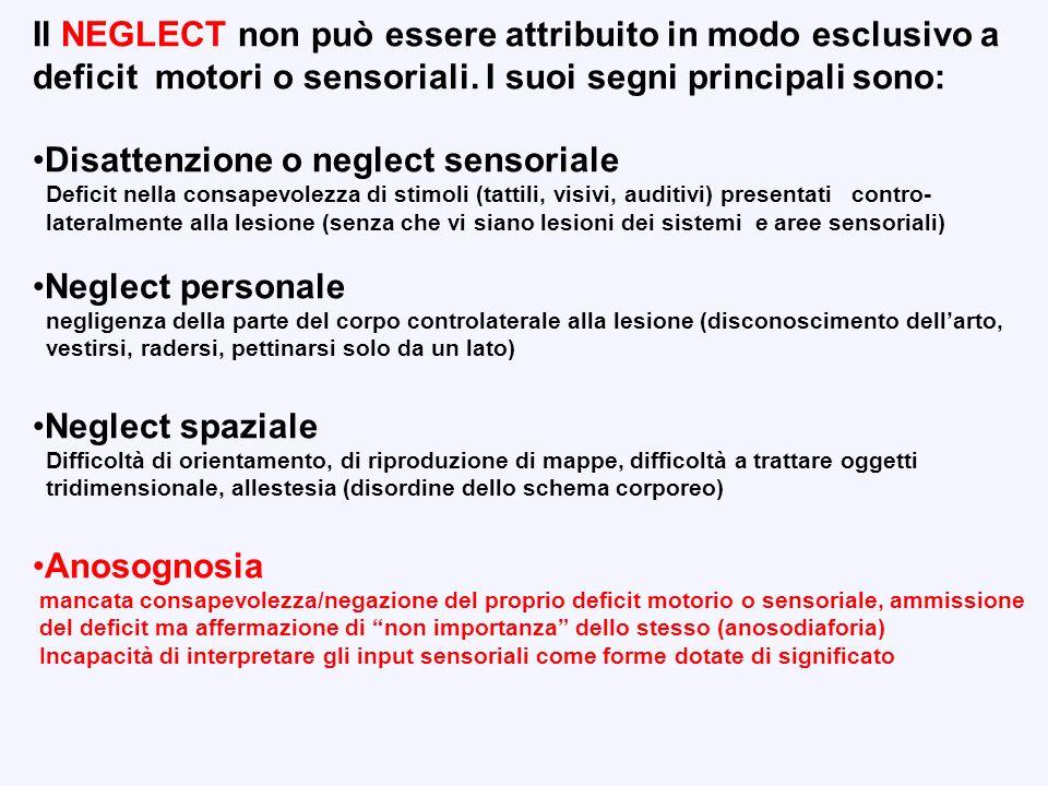 Il NEGLECT non può essere attribuito in modo esclusivo a deficit motori o sensoriali. I suoi segni principali sono: Disattenzione o neglect sensoriale