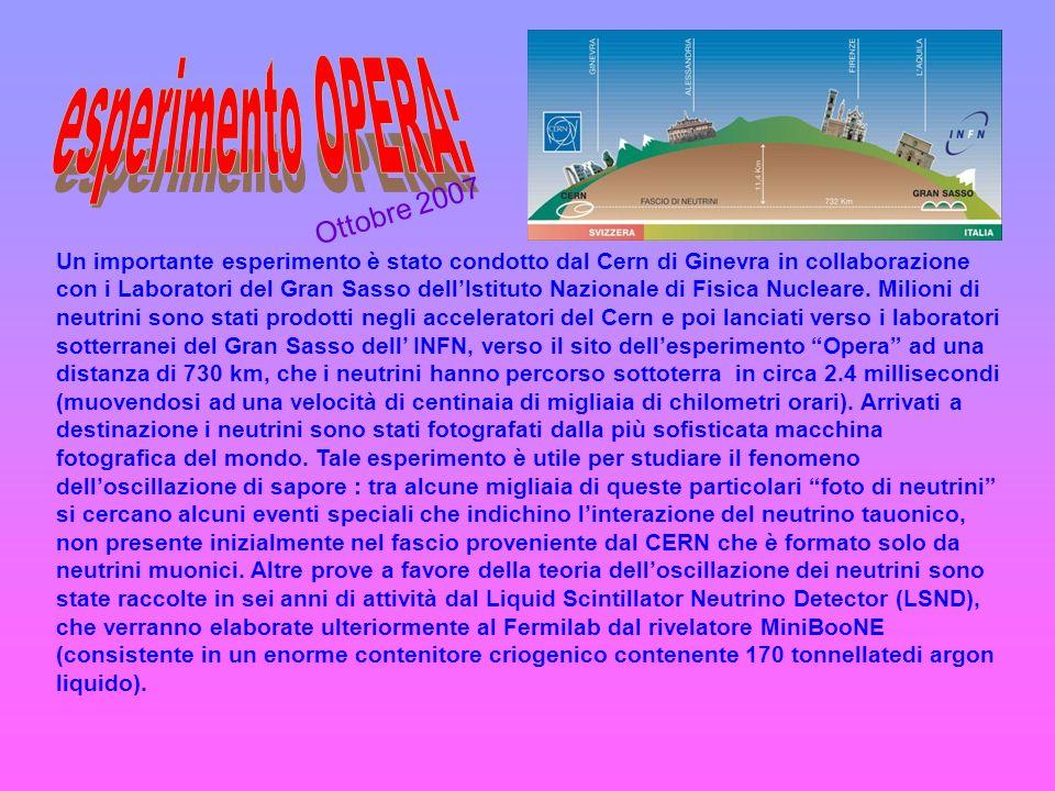Un importante esperimento è stato condotto dal Cern di Ginevra in collaborazione con i Laboratori del Gran Sasso dellIstituto Nazionale di Fisica Nucl