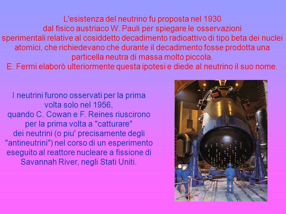I neutrini furono osservati per la prima volta solo nel 1956, quando C. Cowan e F. Reines riuscirono per la prima volta a