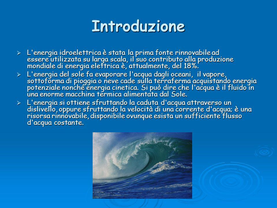 Introduzione L'energia idroelettrica è stata la prima fonte rinnovabile ad essere utilizzata su larga scala, il suo contributo alla produzione mondial