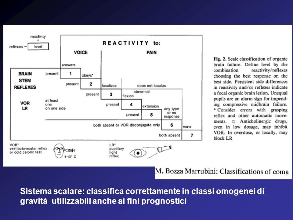 Sistema scalare: classifica correttamente in classi omogenei di gravità utilizzabili anche ai fini prognostici