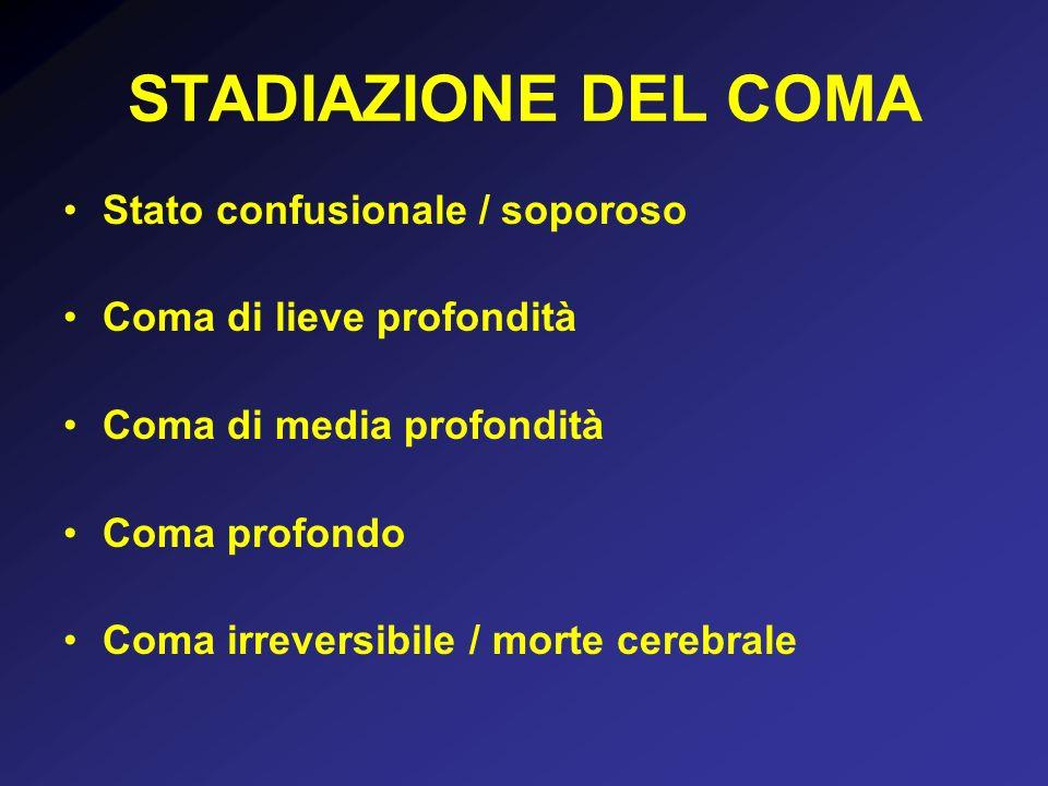 STADIAZIONE DEL COMA Stato confusionale / soporoso Coma di lieve profondità Coma di media profondità Coma profondo Coma irreversibile / morte cerebrale