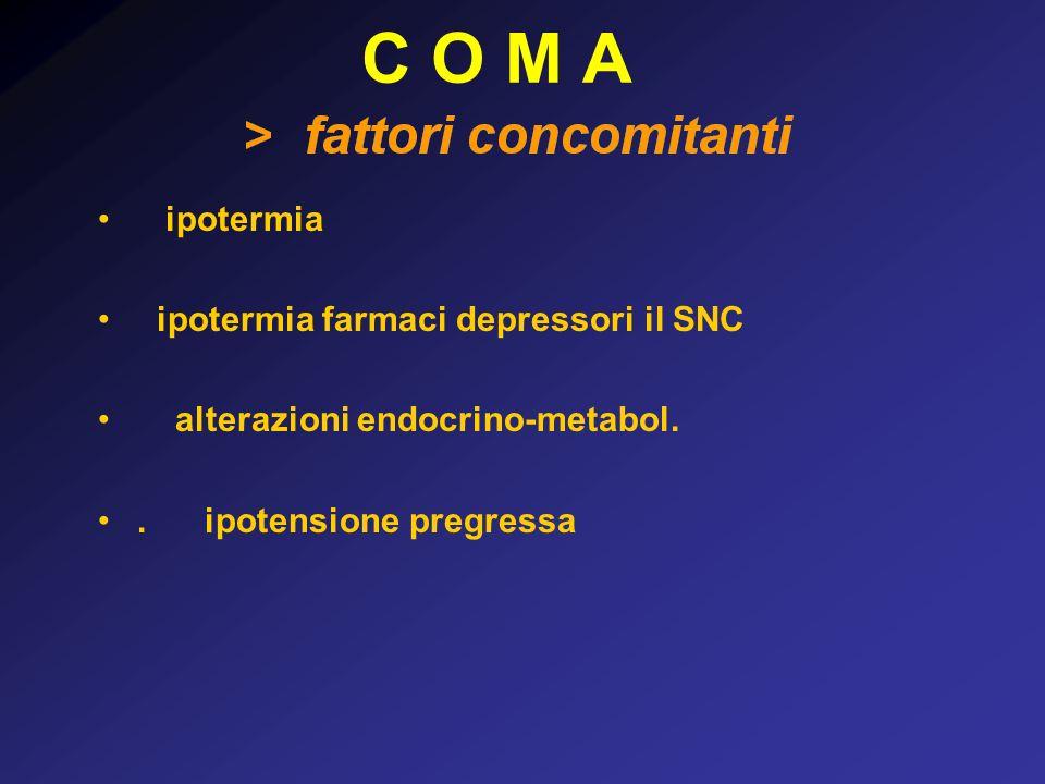 C O M A ipotermia ipotermia farmaci depressori il SNC alterazioni endocrino-metabol..