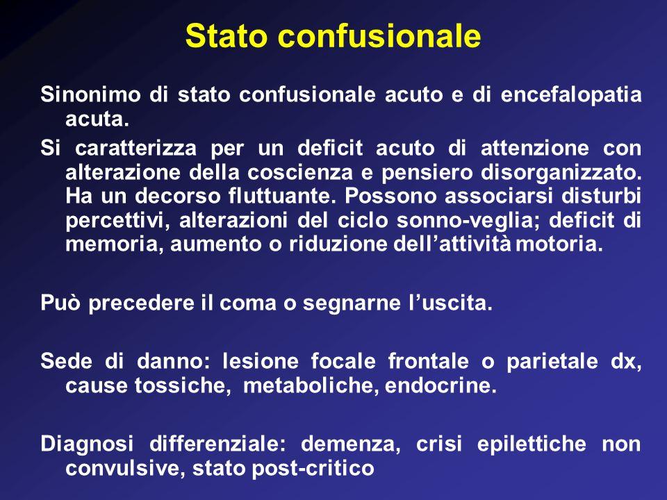 Stato confusionale Sinonimo di stato confusionale acuto e di encefalopatia acuta.