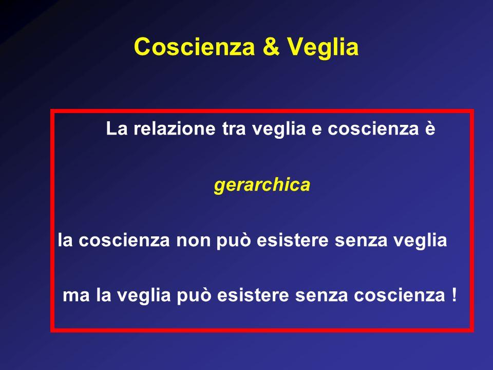 Coscienza & Veglia La relazione tra veglia e coscienza è gerarchica la coscienza non può esistere senza veglia ma la veglia può esistere senza coscienza !