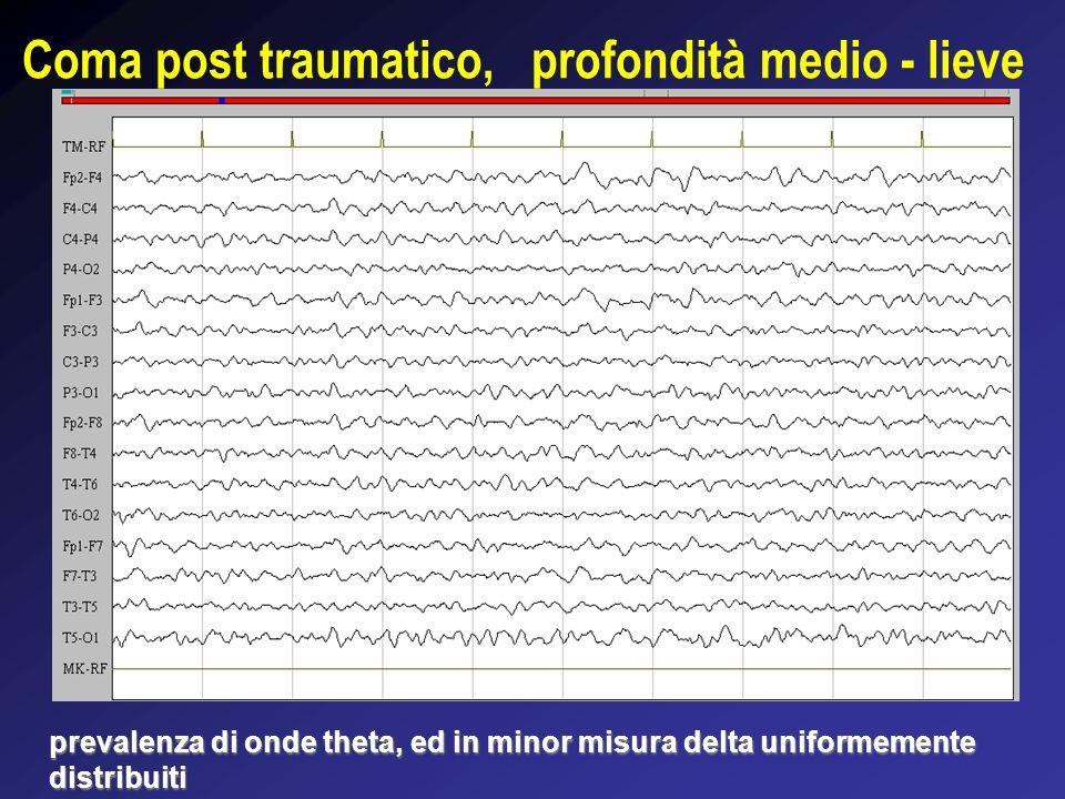 Coma da stato di male epilettico Rallentamento dei ritmi di fondo ed attività epilettica sull emisfero sinistro