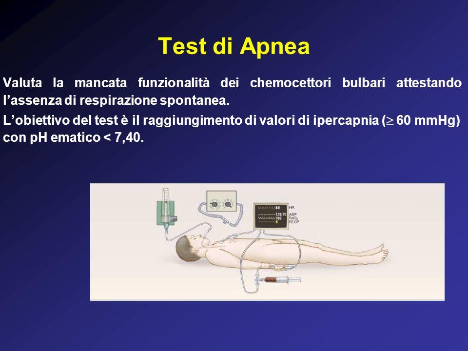 Test di Apnea Valuta la mancata funzionalità dei chemocettori bulbari attestando lassenza di respirazione spontanea.