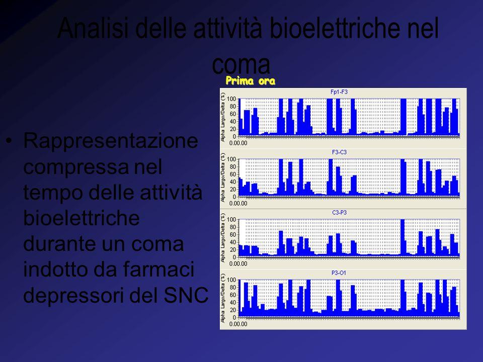 Analisi delle attività bioelettriche nel coma Prima ora Rappresentazione compressa nel tempo delle attività bioelettriche durante un coma indotto da farmaci depressori del SNC