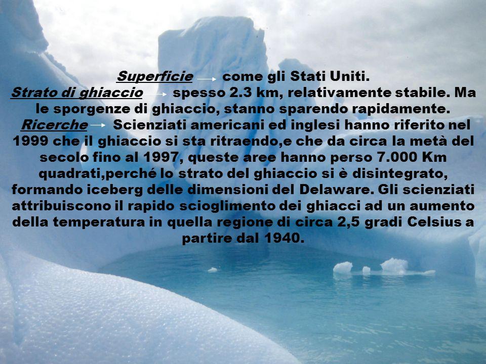 Superficie come gli Stati Uniti. Strato di ghiaccio spesso 2.3 km, relativamente stabile. Ma le sporgenze di ghiaccio, stanno sparendo rapidamente. Ri