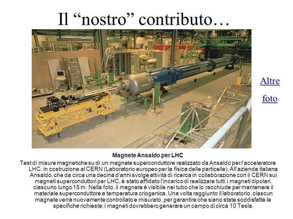 Il nostro contributo… Magnete Ansaldo per LHC Test di misure magnetiche su di un magnete superconduttore realizzato da Ansaldo per l'acceleratore LHC,