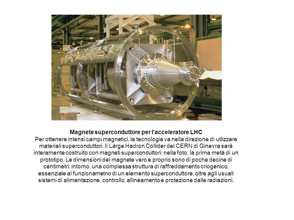 Magnete superconduttore per l'acceleratore LHC Per ottenere intensi campi magnetici, la tecnologia va nella direzione di utlizzare materiali supercond