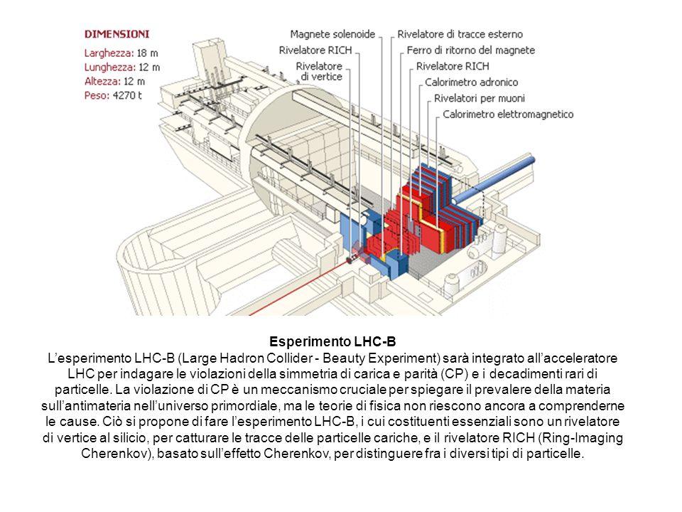 Esperimento LHC-B Lesperimento LHC-B (Large Hadron Collider - Beauty Experiment) sarà integrato allacceleratore LHC per indagare le violazioni della s