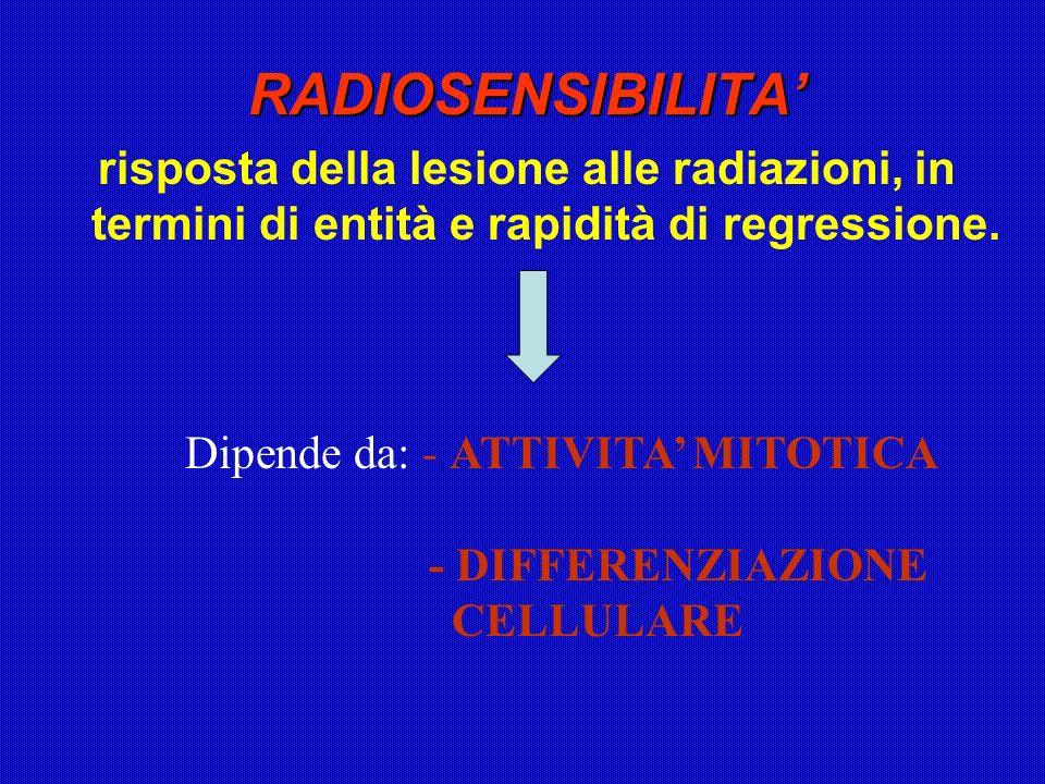 RADIOSENSIBILITA risposta della lesione alle radiazioni, in termini di entità e rapidità di regressione. Dipende da: - ATTIVITA MITOTICA - DIFFERENZIA