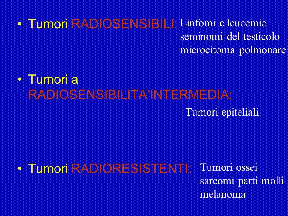 Tumori RADIOSENSIBILI: Tumori a RADIOSENSIBILITAINTERMEDIA: Tumori RADIORESISTENTI: Linfomi e leucemie seminomi del testicolo microcitoma polmonare Tu