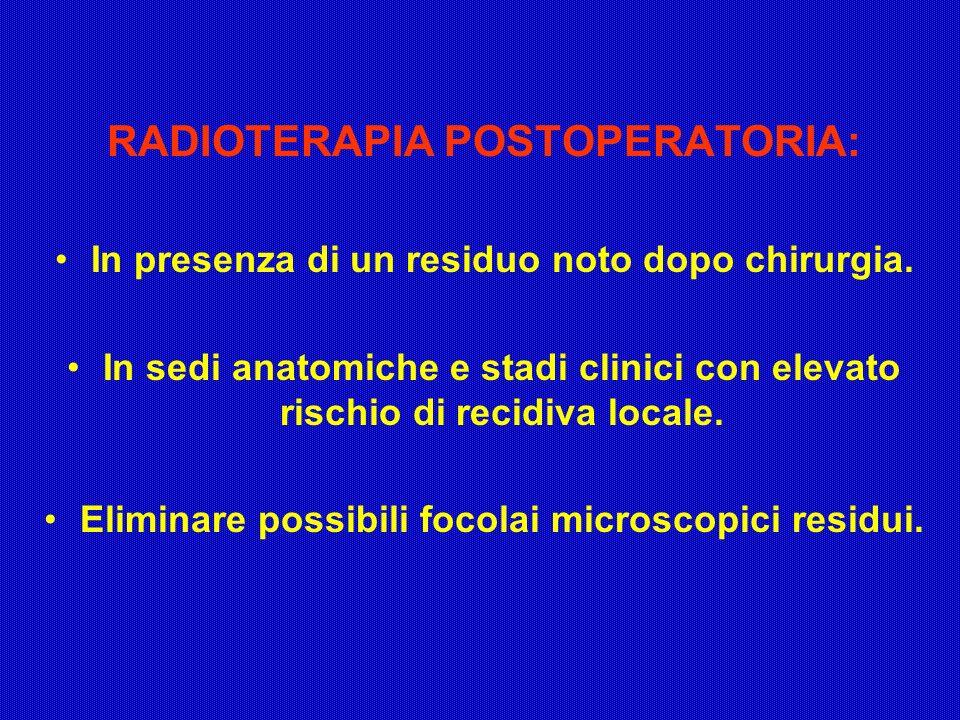 RADIOTERAPIA POSTOPERATORIA: In presenza di un residuo noto dopo chirurgia. In sedi anatomiche e stadi clinici con elevato rischio di recidiva locale.