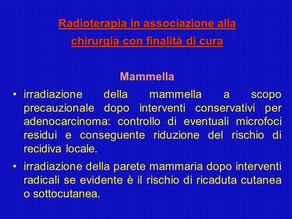 Radioterapia in associazione alla chirurgia con finalità di cura Mammella irradiazione della mammella a scopo precauzionale dopo interventi conservati
