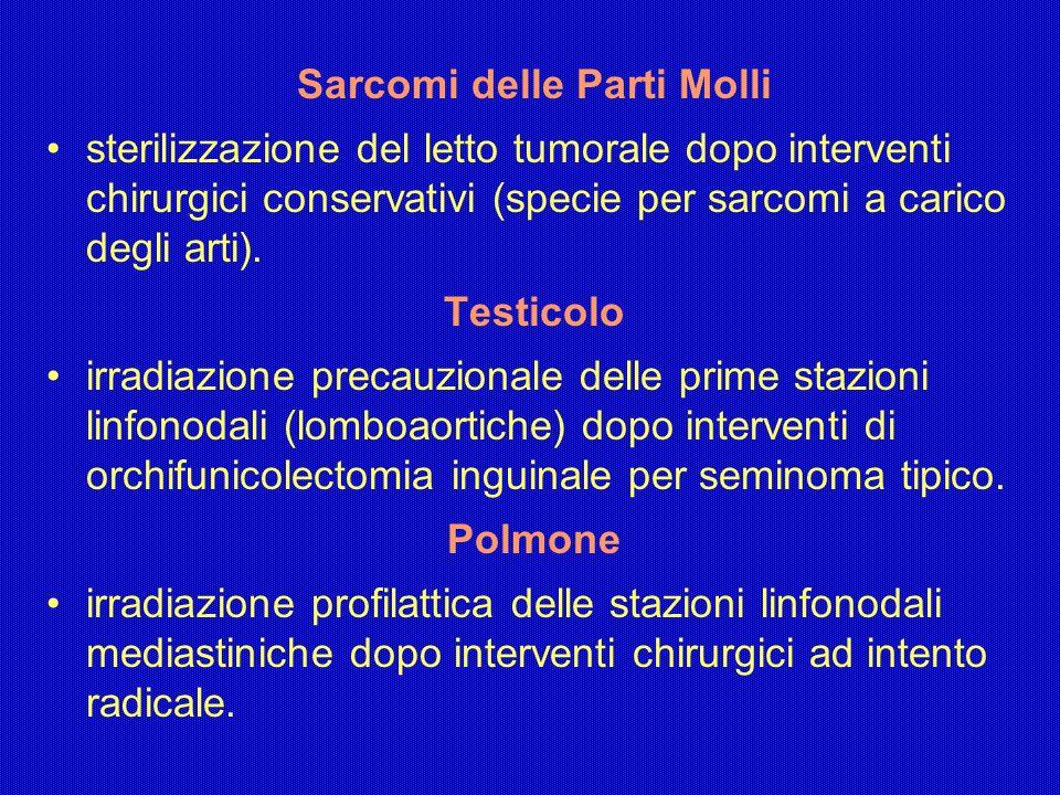 Sarcomi delle Parti Molli sterilizzazione del letto tumorale dopo interventi chirurgici conservativi (specie per sarcomi a carico degli arti). Testico