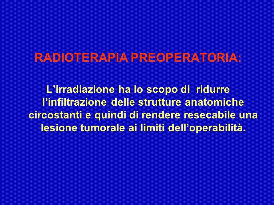 RADIOTERAPIA PREOPERATORIA: Lirradiazione ha lo scopo di ridurre linfiltrazione delle strutture anatomiche circostanti e quindi di rendere resecabile