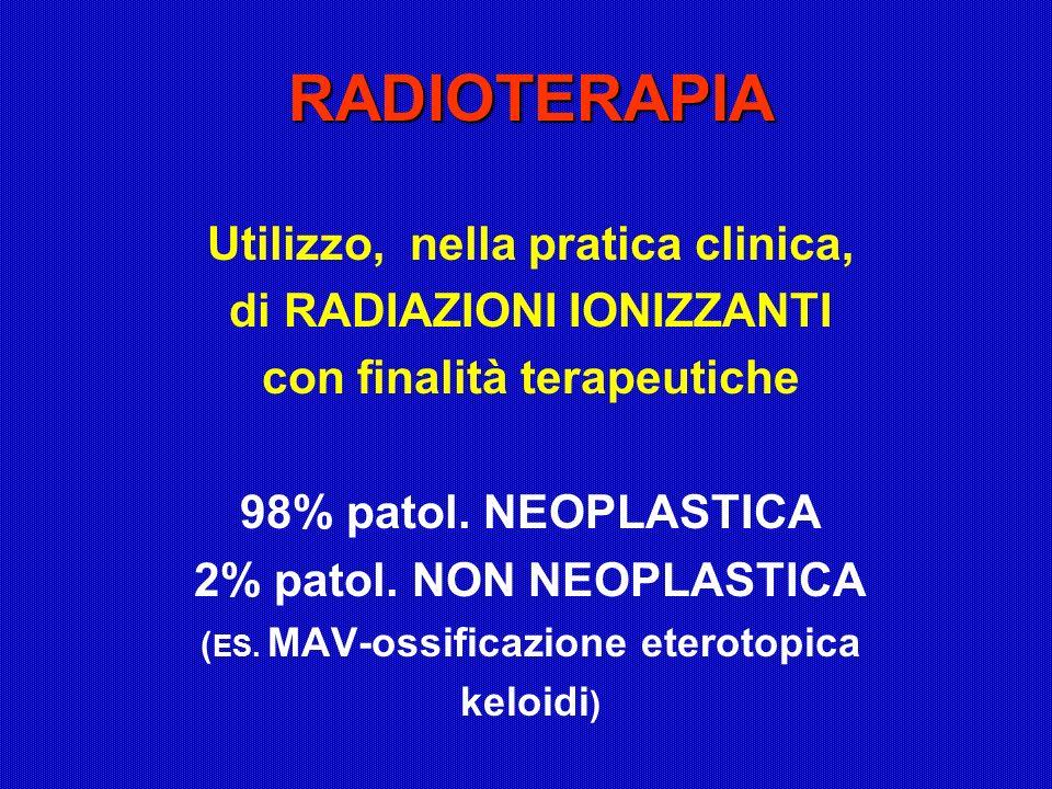 RADIOTERAPIA Utilizzo, nella pratica clinica, di RADIAZIONI IONIZZANTI con finalità terapeutiche 98% patol. NEOPLASTICA 2% patol. NON NEOPLASTICA ( ES