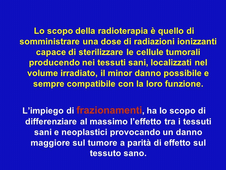 Lo scopo della radioterapia è quello di somministrare una dose di radiazioni ionizzanti capace di sterilizzare le cellule tumorali producendo nei tess