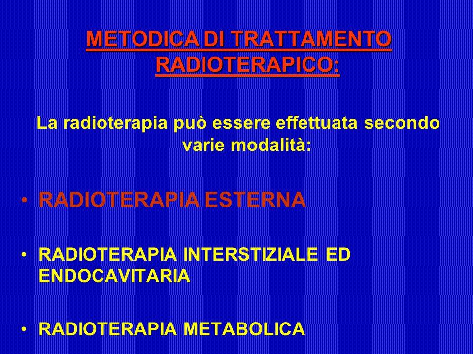 METODICA DI TRATTAMENTO RADIOTERAPICO: La radioterapia può essere effettuata secondo varie modalità: RADIOTERAPIA ESTERNA RADIOTERAPIA INTERSTIZIALE E