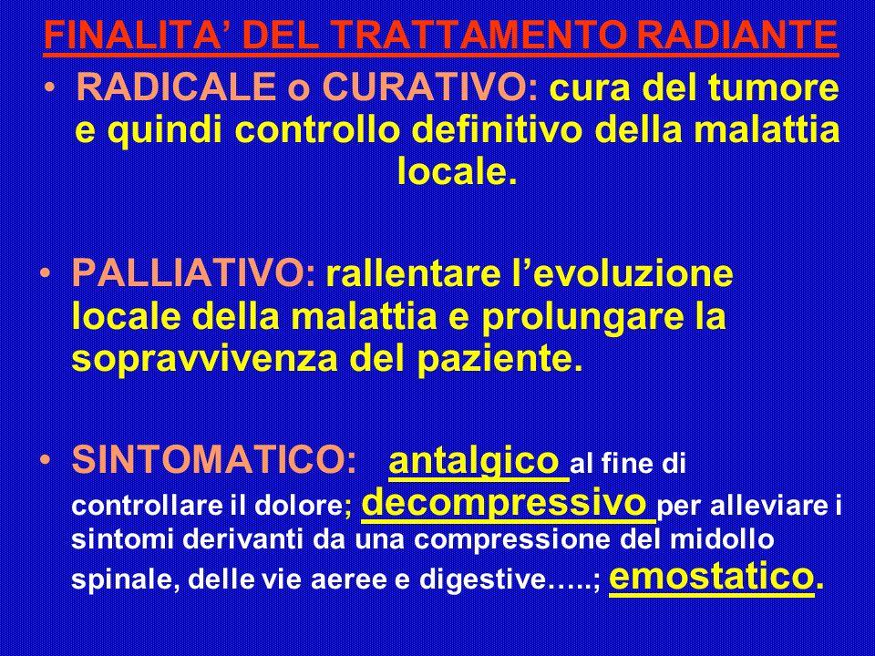 FINALITA DEL TRATTAMENTO RADIANTE RADICALE o CURATIVO: cura del tumore e quindi controllo definitivo della malattia locale. PALLIATIVO: rallentare lev