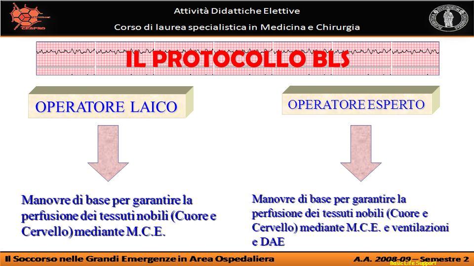 Basic Life Support IL PROTOCOLLO BLS OPERATORE LAICO OPERATORE ESPERTO Manovre di base per garantire la perfusione dei tessuti nobili (Cuore e Cervello) mediante M.C.E.